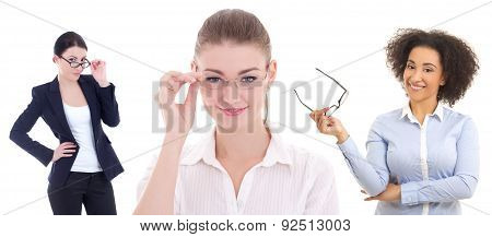 Ophthalmology Concept - Young Beautiful Business Women In Glasses Isolated On White