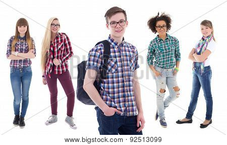 School Concept - Handsome Teenage Boy And Four Beautiful Girls Isolated On White