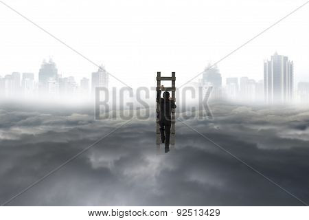 Business Man Climbing On Wooden Ladder With City Landscape Cloudscape