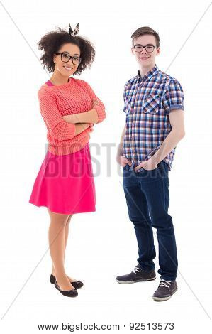 Attractive African American Teenage Girl And Handsome Caucasian Boy Isolated On White