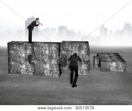 Boss Speaker Yelling Employee Pushing Jigsaw Puzzle Concrete Blocks