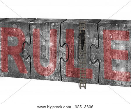 Man Climbing Ladder Puzzles Concrete Wall Red Rule Word