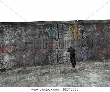 Businessman Pushing Huge Puzzle Door Of Business Doodles Concrete Wall