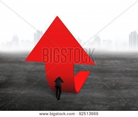 Businessman Pushing Red Trend 3D Arrow Upward