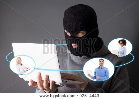 Internet Security Concept - Hacker Stealing Data From Internet