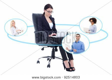 International Business Concept - Young Beautiful Business Woman Talking With Her Partners Isolated O