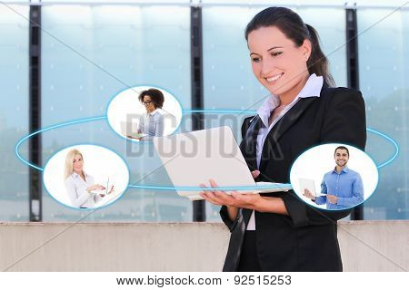 International Business And Internet Concept - Business Woman Talking With Her Business Partners In L
