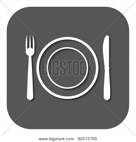 The Plate Dish With Fork And Knife Icon.