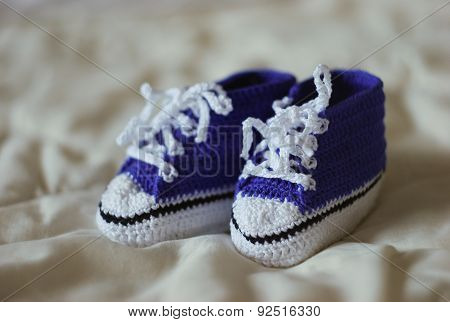 Knitted Blue Gumshoes For A Little Boy