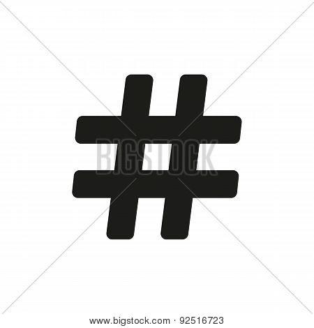 The Hash Icon. Hashtag Symbol. Flat