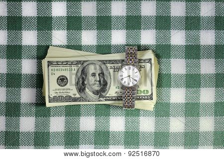 Bundle-earned Of Dollars With A Wristwatch