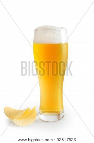 Glass Of Beer And Potato Chips
