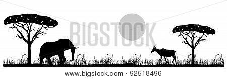 savannah landscape and animals black