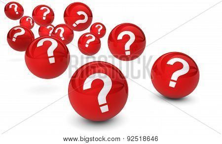 Questions Mark Symbol On Red Balls