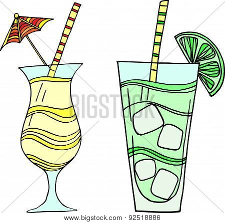 Set of 2 cocktail illustrations
