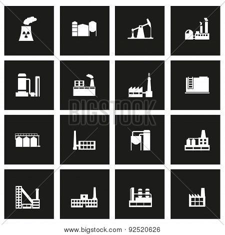Vector black factory icon set