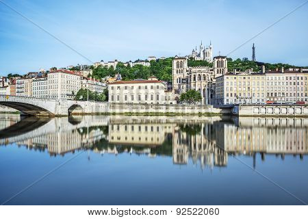 Soane River View With Cathedrals Saint-georges And Fourviere In Lyon