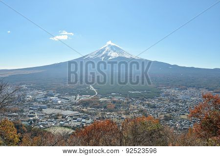 Mount Fuji And City In Yamanashi Japan