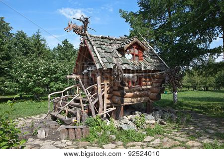 YEKATERINBURG, RUSSIA - JUNE 2, 2015: Photo of The Hut of Baba Yaga. Tagansky Park.