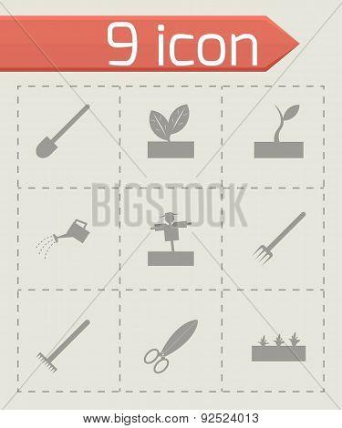 Vector grey farming icon set