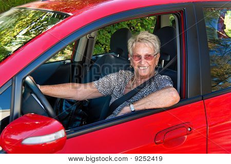 Senior As A Car Driver In The Car. Belt Buckle