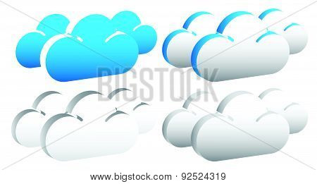 Editable Cloud Shapes Vector Graphics. Eps 10.