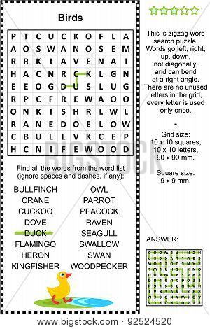 Birds wordsearch puzzle