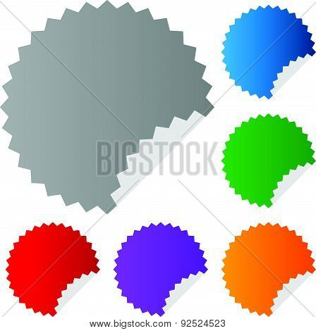 Empty Vector Stickers With Peeling Effect. 6 Colors: Blue, Green, Orange, Purple, Red And Gray.