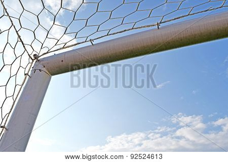 Goal Corner. Soccer or Football goal corner with net sky blue