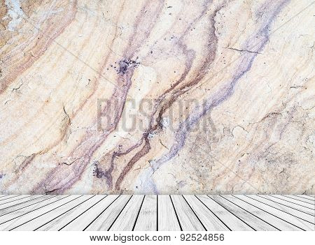 Backdrop  sandstone wall and wood slabs texture background.