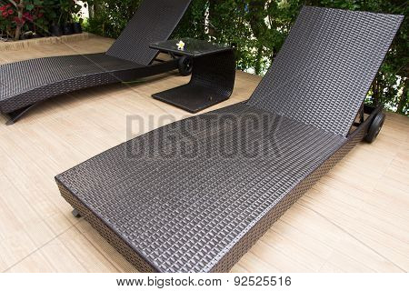 Lounge Sunbed In A Swimming Pool
