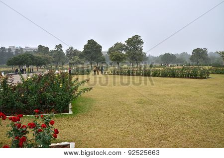 Chandigarh, India - January 4, 2015: Tourist Visit Zakir Hussain Rose Garden In Chandigarh.