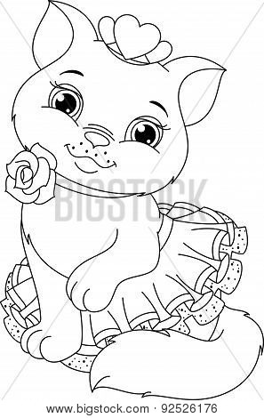 Cat Ballerina Coloring Page