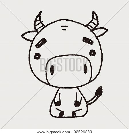 Chinese Zodiac Cow Doodle Drawing