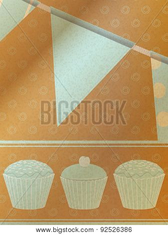 Cupcakes And Bunting Over Brownpaper Background