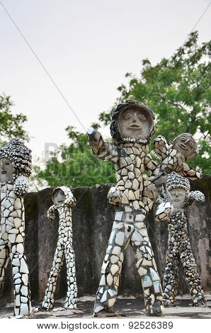 Chandigarh, India - January 4, 2015: Rock Statues At The Rock Garden In Chandigarh.