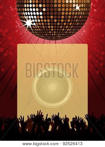 Disco Party Poster With Disco Ball And Crowd