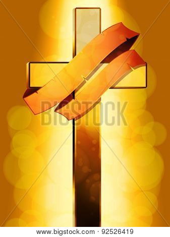 Gold Cross With Banner Over Glowing Background