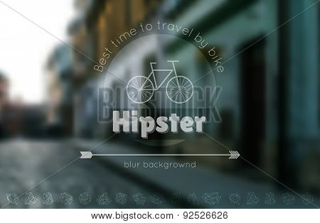 Trendy Hipster Blur Background And Logotypes