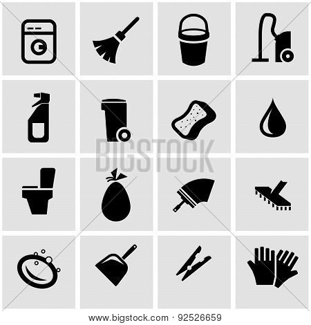Vector black cleaning icon set