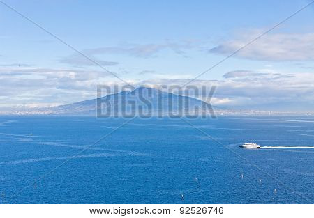 Gulf Of Naples And Mount Vesuvius. View From Sorrento City, Italy