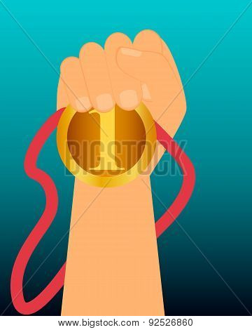 Champion. Athlete holds the gold medal. Vector illustration