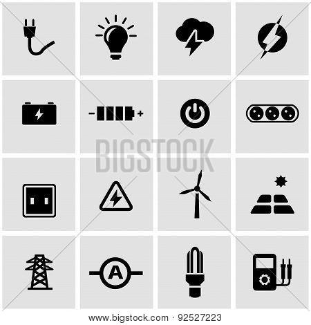 Vector black electricity icon set