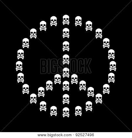 Peace Sign Vector Isolated With White Skull
