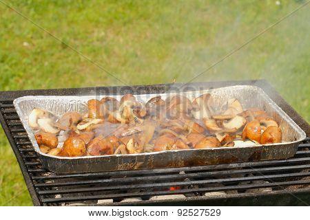 Grill, Grill Pan, Mushrooms, Onion Rings