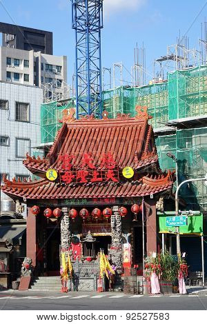 Old Chinese Temple And New Building Construction