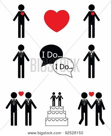 Gay man wedding icon set