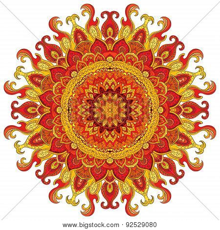 Mandala. Round Ornament Pattern. Vintage decorative elements. Hand drawn background. Islam, Arabic,