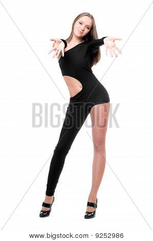 Smiling Young Woman In Skintight Black Costume