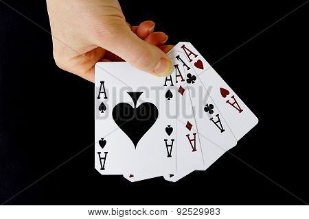Croupier Player Holding Card Aces Four Of A Kind